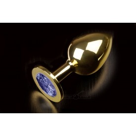 Большая золотая анальная пробка с закругленным кончиком и синим кристаллом - 9 см.
