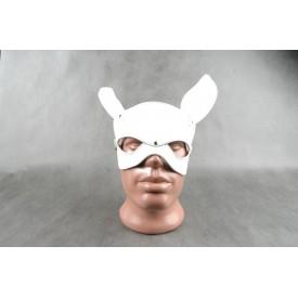 """Белая кожаная маска на верхнюю часть лица """"Е-РАБбит"""""""